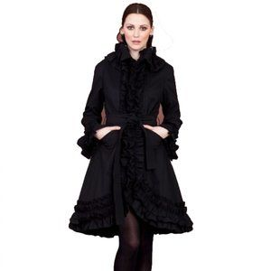 Samuel Dong Black Ruffle Trench Coat Belted Jacket